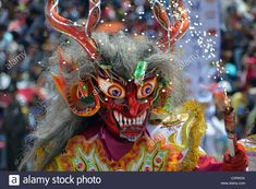 Stock Photo - Mask at the largest Indio carnival in the world, Diablada, Dance of the Devils, living UNESCO World Heritage Site, Oruro Devil, Carnival, Wreaths, Dance, Stock Photos, Halloween, Dancing, Door Wreaths, Carnavals