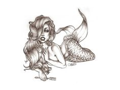 I want this for a tattoo! Looks like a cross between the little Mermaid and Jessica Rabbit! My two favorite Disney characters!