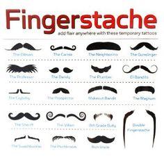 Fingerstache - mustache tattoo collection