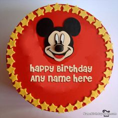 Mickey Mouse Birthday Cake With Photo And Name
