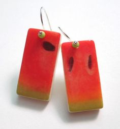 Watermelon Slices, Domino Earrings, ali herrmann jewelry, domino jewelry by theotherali on Etsy