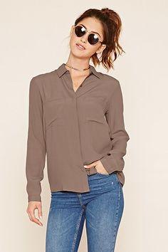 Button-Front Woven Shirt