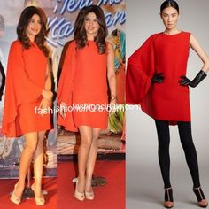 In Lanvin : Priyanka Chopra : Lame or Fame? Piggy Chops attended the first trailer launch of her upcoming film 'Teri Meri Kahaani' in a deep orange Lanvin dress.    The cape sleeved dress looked great on her, But I wish her stylist (Ami Patel) had styled it better. Gold works wonder with orange. I would have loved to see her incorporate Gold into the look in the form of glitter shoes or jewellery.