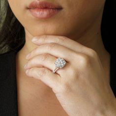 Cushion shape 11x11 solitaire vintage diamond cluster engagement ring