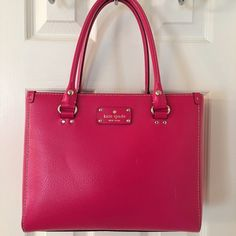 HP Kate Spade Wellesley Pink Leather Tote Bag Gold hardware. 3 compartments (middle zips).  3 interior pockets (1 zips).  Really good almost new condition with 2 small scuffs on front right side of bag.  Leather.  Measures: 11.5x3x10x7.5. kate spade Bags Totes