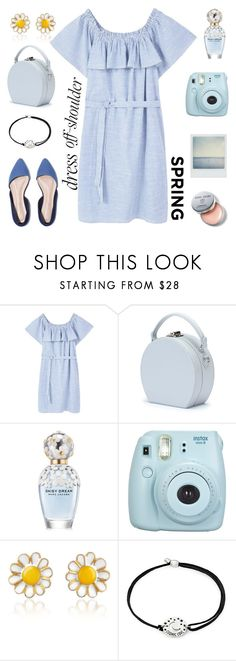 """Blue Spring"" by pure-vnom ❤ liked on Polyvore featuring MANGO, Handle, Marc Jacobs, Fuji, Polaroid, AZ Collection, Alex and Ani, Bobbi Brown Cosmetics and offshoulderdress"