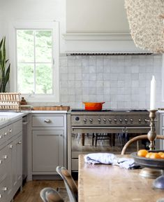 Timeless kitchen - Natasha Habermann - Smeg range - Farrow and Ball Purbeck Stone paint color - subway tile substitute