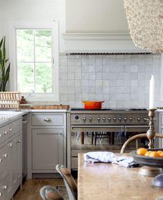 Timeless kitchen - Natasha Habermann - Smeg range - Farrow and Ball Purbeck Stone paint color - subway tile substitute