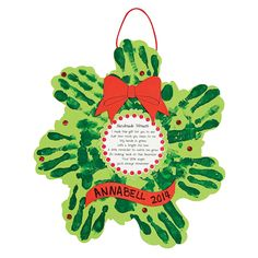 Christmas Wreath Handprint Poem Craft Kit - OrientalTrading.com