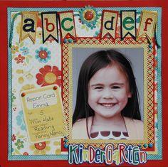 scrapbook layout kindergarten handprint | ABC school scrapbook layout…