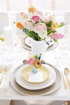 Easter Fraiche Table Dinner with pastel florals, white dinner ware and gold flatware: your complete guide to planning your perfect Easter Dinner!