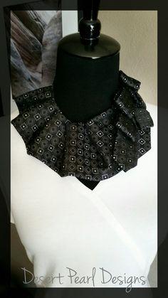Black ruffled collar steampunk pleated by DesertPearlDesigns