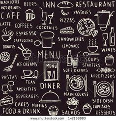 Vector seamless pattern background with hand drawn food, drink and restaurant menu elements on blackbord by Aleksandra Novakovic, via ShutterStock