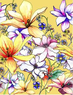 Hand drawing floral seamless pattern background