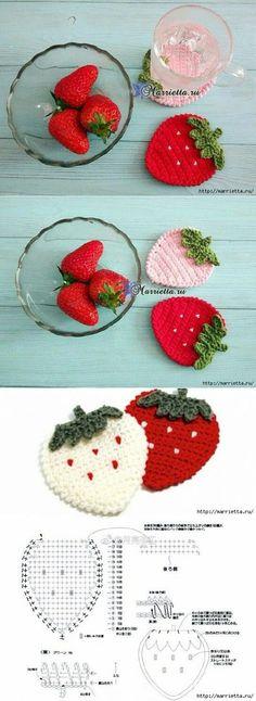 Red n white stawberry crochet applique Crochet Strawberry, Crochet Fruit, Crochet Food, Crochet Kitchen, Crochet Gifts, Cute Crochet, Crochet Motif, Crochet Doilies, Crochet Flowers