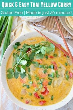 Thai Yellow Curry is easy to make at home in only 20 minutes! This recipe is made with chicken, but extra veggies can be swapped in for a vegetarian curry. The sauce is so delicious, you'll feel like you're eating at your favorite Thai restaurant! Yellow Curry Recipe, Thai Yellow Curry, Walnut Chicken Recipe, Chicken Recipes, Thai Recipes, Vegetarian Curry, Vegetarian Recipes Dinner, Vegans, Vegetarian Food