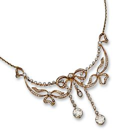 DIAMOND NECKLACE, CIRCA 1905.  Of stylised bow and négligé design, millegrain-set with circular-, single- and rose-cut, cushion-shaped diamonds, continuing to the back with a cable link chain, length approximately 370mm.