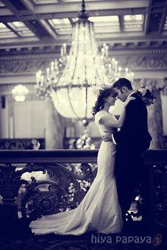 romantic wedding couple (vintage feel - indoors, inside, winter, december wedding)