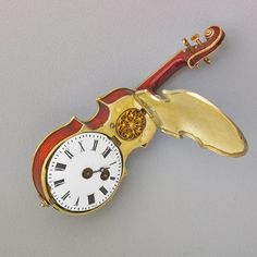 VIENNESE VIOLIN FORM ENAMELED SILVER WATCH - 2 Old Watches, Pocket Watches, Antique Watches, Antique Clocks, Antique Art, Clock Display, Cool Clocks, Watch 2, Funny Watch