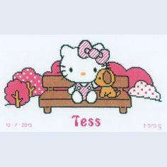 Hello Kitty in the Park - kruissteekpakket met telpatroon Vervaco