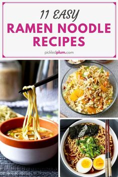 11 Easy Ramen Noodle Recipes - Whether you're a ramen purist, or love bowl no. - 11 Easy Ramen Noodle Recipes – Whether you're a ramen purist, or love bowl noodles from the bo - Ramen Noodle Bowl, Ramen Noodle Recipes, Ramen Noodles, Soup Recipes, Vegetarian Recipes, Asian Noodles, Ramen Comida, Healthy Ramen, Sweets