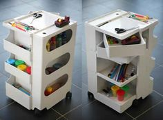 Mobile storage of office supplies, craft materials and paper, bobby trolley, storage, design, function, form