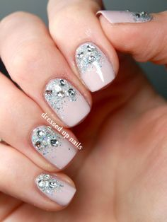 Glittery nude cream nails bling