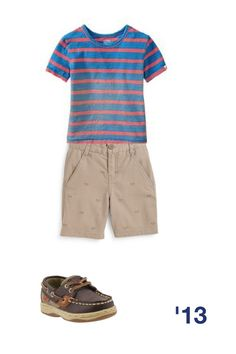 Neat outfit for boy toddler! Blue and orange stripe top, tan khaki shorts, and brown sperrys! So cute! #classy #stylish #fashionable #cute #babyboy #backtoschool #closet #combo
