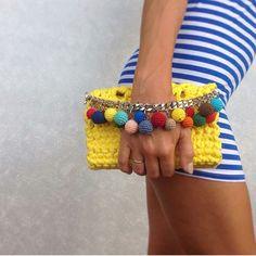 Items similar to Mint crochet lace clutch bag with elegant chain Crochet Clutch Bags, Crochet Handbags, Crochet Purses, Yellow Clutch Bags, Yellow Handbag, Handmade Handbags, Handmade Bags, Bead Crochet, Crochet Lace