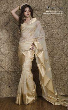 Pure Kora Silk Banarasi Saree in Cream and Gold