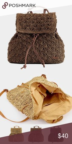 "Crochet Backpack Bag • Size : 12"" X 16"" X 5"" / Adjustable • Fabric : 80% Paper / 20% PU • Lining : 100% Polyester • Magnetic snap closure • Crochet straw backpack bag Bags Backpacks"
