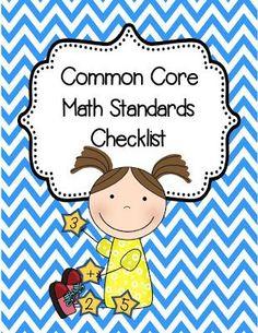 2nd Grade Common Core Math Standards Checklist Freebie