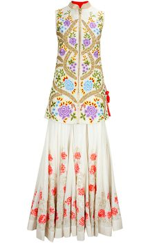 Ivory zari and thread floral embroidered jacket with pink flowers flared lehenga available only at Pernia's Pop-Up Shop.