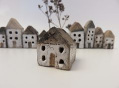 Tiny ceramic houses ............