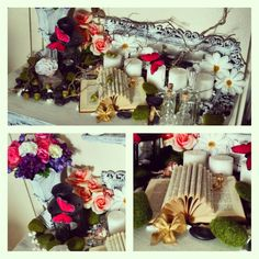 Home Decoration Display created by INSPERIT  @insperit.displays #insperit #inspirational #displays #Milwaukee #home #stagging #decoration #interior #design #nature #book #DIY #flowers #moss #bow #pink #butterfly #housestaging #candles #mirror