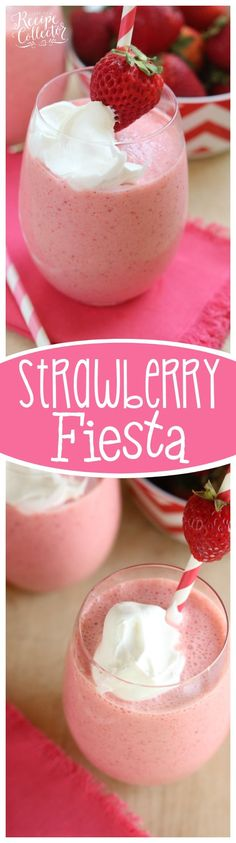 Strawberry Fiesta Daiquiri - A perfect summer cocktail made with frozen strawberries, pina colada mix, coconut rum, and cool whip!  It's a creamy, fun, and delicious drink perfect for summer parties by the pool.  Plus it can easily be made non-alcoholic too!