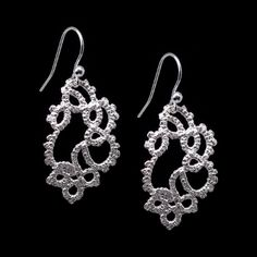 'Cascade' sterling silver earrings, by Ruth Mary Jewellery - made from tatted lace models