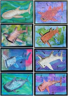 July Whale Sharks: sponge applied acrylic or layered watercolour & salt background, soft pastel whale shark with applied dots Whale Sharks, Whales, Kid Art, Art For Kids, Square 1 Art, Discovery Zone, Salt Art, Ocean Projects, Lavender Room