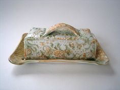 Hand made textured stoneware pottery butter dish - green and gold
