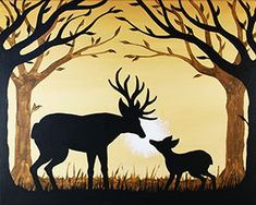 """""""Hello, Little One""""  Social Artworking Canvas Painting Design -- A buck greets his offspring on a fine spring morning in this silhouette design. Paint this one with Dad or for him for a lasting memory.  CANVAS SIZE:  16"""" x 20""""  TIME TO PAINT:  approximately 2 hours"""