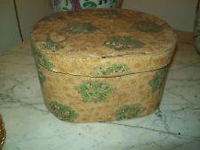 Hannah Davis w Label Hatbox Bandbox Green Floral Nice Size Antique Hat Box