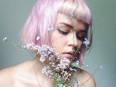 portrait flowers pastel hair pink hair midsummer forget me not baby bangs short bob syren laurannah