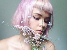 portrait flowers pastel hair pink hair midsummer forget me not baby bangs short bob syren laurannah