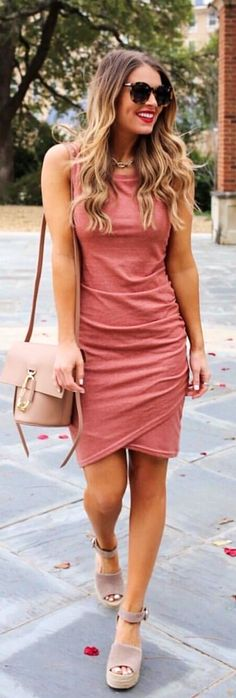 #spring #outfits woman wearing pink tank mini dress. Pic by @whitswhims