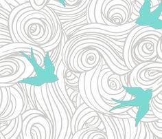 Large Scale Take Flight in Teal fabric by sparrowsong on Spoonflower - custom fabric