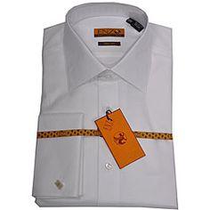 Enzo Tovare Men's White Twill French-cuffed Shirt