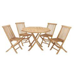 Casa Cortes Teak Wood Folding Chair 5-Piece Round Patio Dining Set