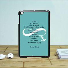 Bible Verse john 3 16 turquoise iPad Mini 2 Case Dewantary