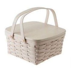 Longaberger Cake Basket with Riser - Whitewashed