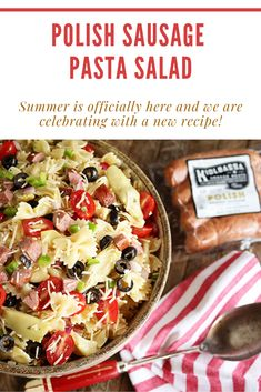 Pasta salad is always a favorite during backyard barbecues, and this recipe takes it to a whole new level. Kiolbassa Polish Sausage adds bold, smoky flavor to every bite. Recipe courtesy of Southern Bite. Cheap Clean Eating, Clean Eating Snacks, Gourmet Recipes, New Recipes, Copycat Recipes, Pasta Recipes, Salad Recipes, Polish Sausage Recipes, Polish Recipes